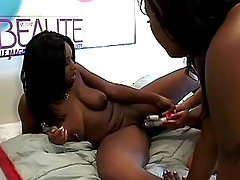 Three hot black lesbians dildoing on sofa