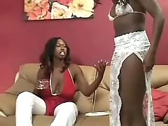 Four hot black lesbians have fun in group
