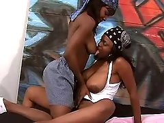 Lewd black lesbians make sex with strapon